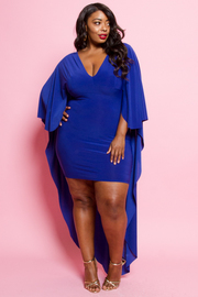 Plus Size V-neck Cape Back Solid Bodycon Dress
