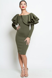 The Classy Cascade Shoulder Bodycon Midi Dress