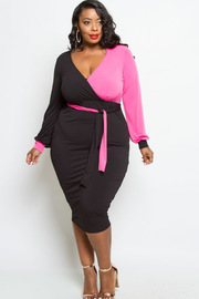 PLUS SIZE SEXY WRAP DRESS