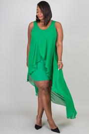 Plus Size Hi Lo Split Sheer Mini Dress Combo