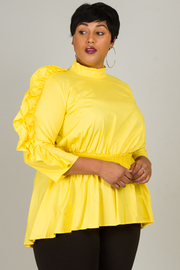 PLUS SIZE HIGH NECK SOLID POPLIN TOP WITH FRILLED SHOULDER POINT