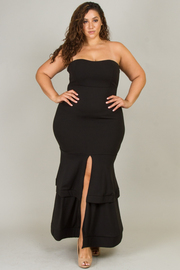 PLUS SIZE FITTED STYLE TUBE TOP MAXI DRESS