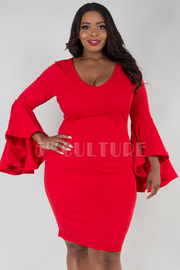 Plus Size V Neck Bell Sleeved Bodycon Dress