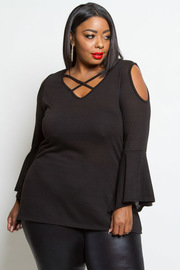 PLUS SIZE COLD SHOULDER BELL LONG SLEEVE TOP