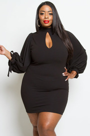 PLUS SIZE PUFFY SLEEVE RIBBON POINT DRESS