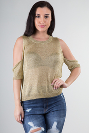 COLD SHOUDLER SHORT SLEEVE TOP