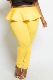 PLUS SIZE HIGH RISE RUFFLE POINT PANTS
