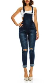 PLUS SIZE DESTROYED KNEE OVERALLS