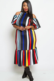 PLUS SIZE COLD SHOUDLER SHORT SLEEVE STRIPE MAXI DRESS