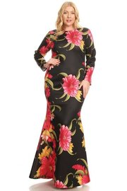 PLUS SIZE FLORAL LONG SLEEVE MAXI DRESS