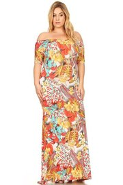 PLUS SIZE BOTANICAL PRINTED MAXI DRESS