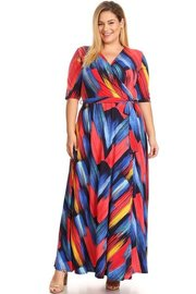 PLUS SIZE ABSTRACT PRINTED WRAPPED A-LINE MAXI DRESS