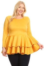 PLUS SIZE RUFFLE BOTTOM LONG SLEEVE TOP