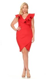 PLUS SIZE RUFFLE SHOUDLER MIDI DRESS