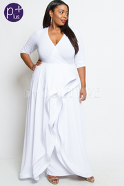 DEEP V NECK 3/4 SLEEVES SOLID LAYERED MAXI DRESS