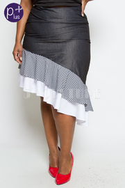 HIGH WAIST DENIM CONTRAST 3-LAYERED SKIRT