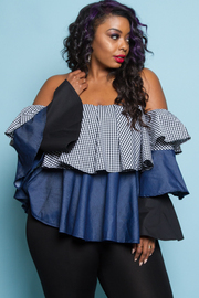 OFF SHOULDER DENIM CONTRAST THREE LAYERED TOP
