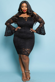 PLUS SIZE LACE BELLSLEEVE MIDI DRESS