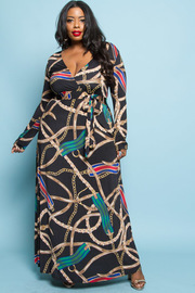 Plus Size Long Sleeved Unique Printed Maxi Tie Dress