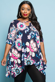 PLUS SIZE FLOWER PRINTED SEXY FRONT MINI DRESS