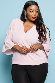 PLUS SIZE LONG SLEEVE WRAP TOP