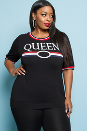 PLUS SIZE QUEEN PRINTED SHORT SLEEVE TOP