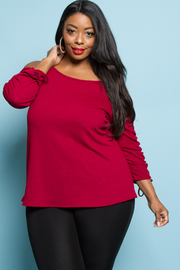 PLUS SIZE COLD SHOULDER LONG SLEEVE TOP