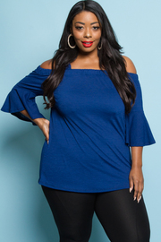 PLUS SIZE COLD SHOULDER BELL SLEEVE TOP
