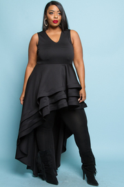 PLUS SIZE V NECK SLEEVELESS WITH A LONG TAIL DRESS