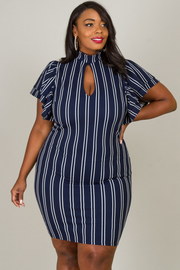 PLUS SIZE SEXY FRONT SHORT SLEEVE MINI DRESS