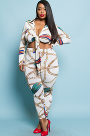 PLUS SIZE CHAIN PATTERN TOP AND PANTS SET