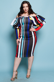 PLUS SIZE Long sleeve off shoulders peplum all around midi dress
