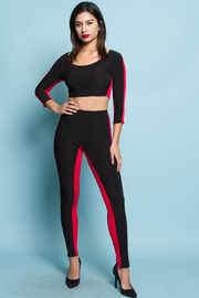 COMFY SIDE STRIPE POINT TOP AND PANTS SET