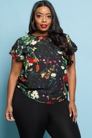PLUS SIZE FLOWER RUFFLE SHORT SLEEVE TOP
