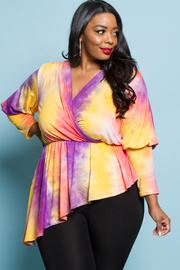 PLUS SIZE DYE PATTENR LONG SLEEVE TOP