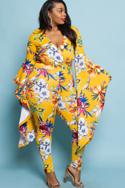 PLUS SIZE FLOWER PATTERN BELL SLEEVE JUMPSUITS