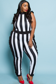 PLUS SIZE STRIPE PATTERN JUMPSUITS