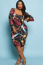PLUS SIZE PATTER MIDI DRESS
