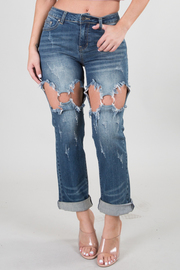DESTROYED SEXY CROP JEANS