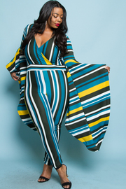 Plus size bell sleeve stripe jumpsuits