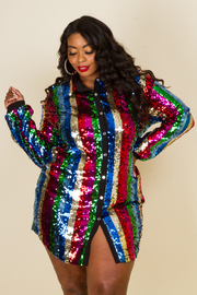 PLUS SIZE SHINY MULTI COLOR LONG SLEEVE SHIRTS TOP