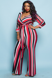 PLUS SIZE WRAP STRIPE PATTERN JUMPSUIT