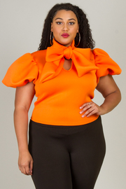 PLUS SIZE RIBBON POINT SHORT SLEEVE TOP
