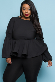 PLUS SIZE RUFFLE BOTTOM GORGEOUS LONG SLEEVE TOP