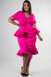 PLUS SIZE ELEGANCE RUFFLE POINT MIDI DRESS