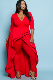 PLUS SIZE RUFFLE LONG TAIL JUMPSUITS