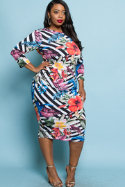 PLUS SIZE SEXY FITTED MIDI DRESS