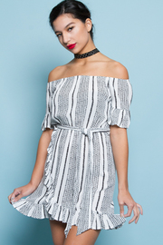 COLD SHOULDER STRIPE MINI DRESS