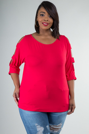PLUS SIZE COLD SHOULDER 3/4 SLEEVE TOP