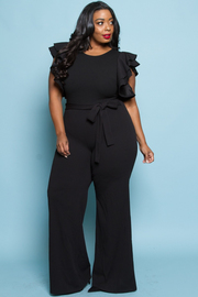 PLUS SIZE RUFFLE SHOULDER JUMPSUITS